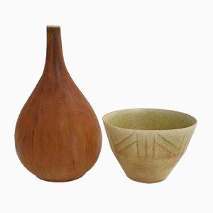 Schwedische Keramik von Carl Harry Stålhane Pieces für Rörstrand, 1950er, 2er Set