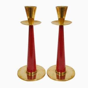 Mid-Century Swedish Brass Candle Holders for Nils Johan, 1950s, Set of 2