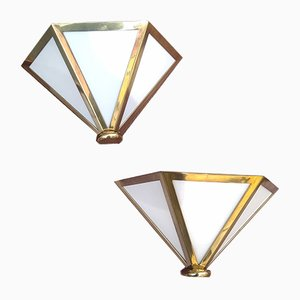 Vintage Brass and Latex Sconces, 1970s, Set of 2