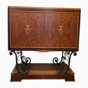 Vintage Art Deco French Mahogany and Walnut Cabinet