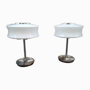 Metal and Opaline Glass Table Lamps by Gaetano Sciolari for Valenti, 1970s, Set of 2