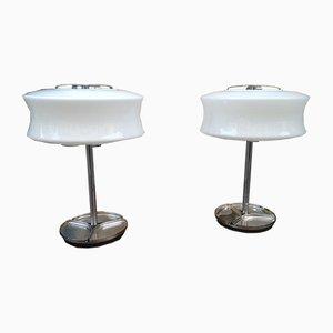 Tischlampen aus Metall & Opalglas von Gaetano Sciolari für Valenti, 1970er, 2er Set