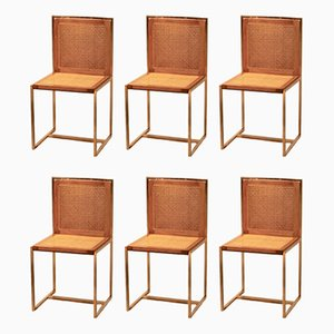 Italian Cane Side Chairs by Romeo Rega, 1970s, Set of 6