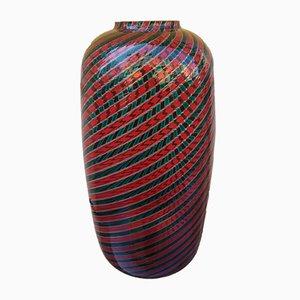 Vaso vintage in vetro rosso e verde di Venini, anni '20