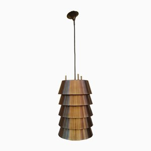 Mid-Century Aluminum and Brass Pendant Lamp, 1960s