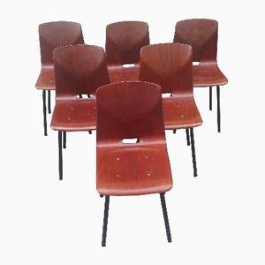 Chaises de Salle à Manger en Pagholz, 1960s, Set de 6