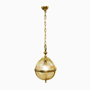 Vintage Italian Glass and Metal Globe Ceiling Lamp, 1970s