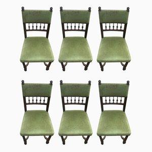 Antike französische Beistellstühle aus Nussholz, 6er Set