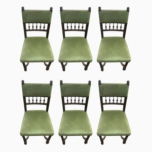 Antique French Walnut Side Chairs, Set of 6