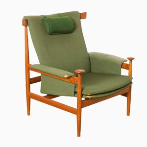 Model 152 Bwana Fabric and Teak Lounge Chair by Finn Juhl for France & Søn/France & Daverkosen, 1960s