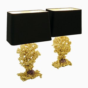 French Bronze & Amethyst Table Lamps by Claude Victor Boeltz, 1970s, Set of 2