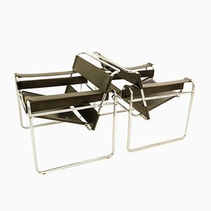 Chrome and Leather B3 Wassily Armchairs by Mart Stam & Marcel Breuer for Gavina, 1970s, Set of 2