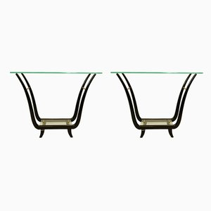 Italian Glass and Mahogany Console Tables, 1950s, Set of 2