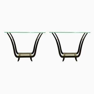 Mesas consola italianas de vidrio y caoba, años 50. Juego de 2