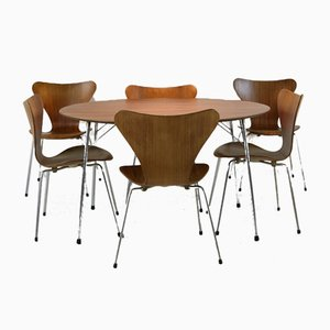 Danish Teak Dining Set by Arne Jacobsen for Fritz Hansen, 1960s