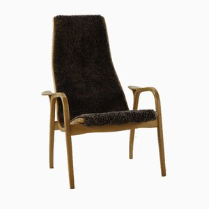 Scandinavian Modern Beech and Wool Armchair by Yngve Ekström for Swedese, 1980s