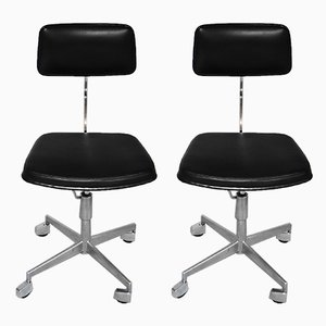 Aluminum, Chrome Plating, and Steel Desk Chairs, 1960s, Set of 2