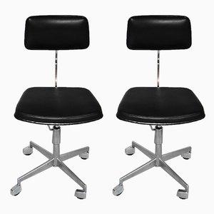 Schreibtischstühle mit Gestell aus Aluminium, verchromtem Stahl, 1960er, 2er Set