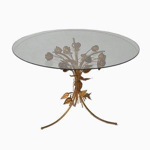 Tavolino Hollywood Regency Mid-Century in metallo e vetro di Hans Kögl, Germania, anni '60