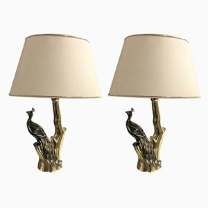Lámparas de mesa de latón y metal de Willy Daro, años 70. Juego de 2