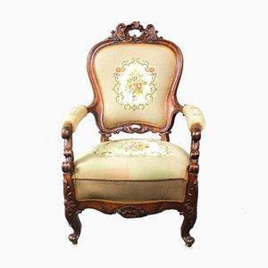 Antiker dänischer Sessel mit Stoffbezug