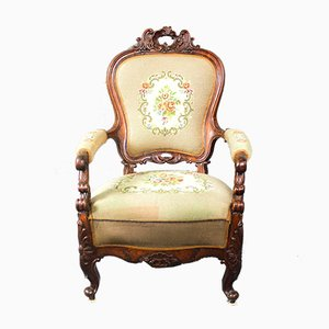 Antique Danish Fabric Armchair