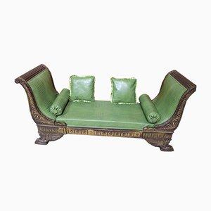 Antique Empire Aniline Leather Recamiere