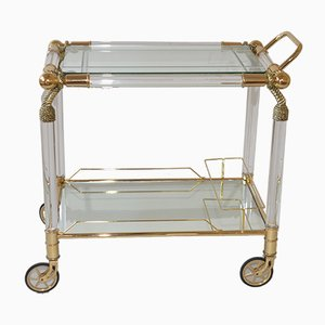 Vintage Hollywood Regency Servierwagen aus Messing, Glas & Plexiglas, 1980er