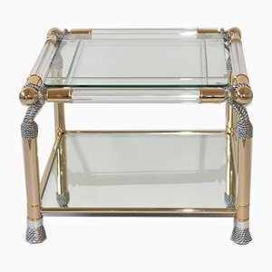 Tavolino Hollywood Regency in ottone, vetro e lucite, anni '80