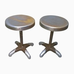 Vintage Industrial Italian Metal Stools, 1930s, Set of 2