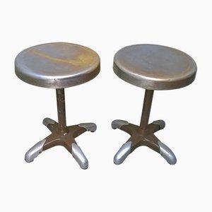 Vintage Industrial Italian Metal Stools, 1930s, Set of 2