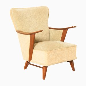 Mid-Century Fabric and Teak Armchair, 1950s