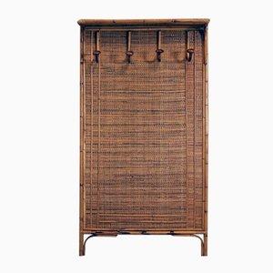 Italienische Mid-Century Garderobe aus Holz & Binsengeflecht, 1960er