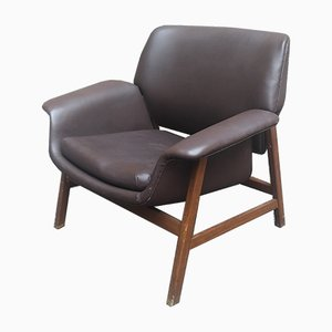 849 Leather and Wood Armchair by Gianfranco Farttini for Cassina, 1950s