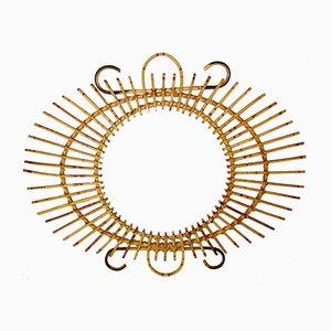 Espejo Mid-Century con marco de ratán, años 50