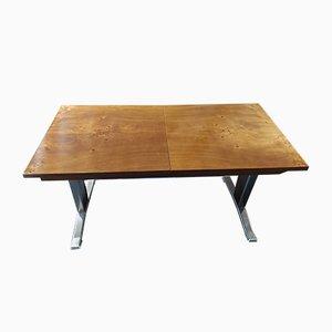Tavolino da caffè in metallo cromato e legno, anni '70