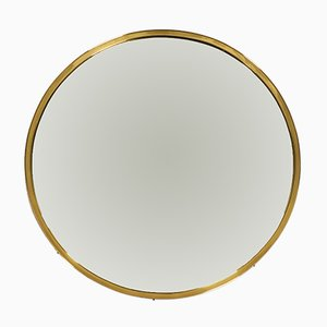 Round Mid-Century German Wall Mirror with Brass Frame, 1950s