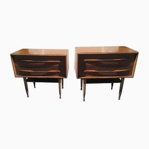 Mahogany Nightstands with Brass Legs, 1950s, Set of 2