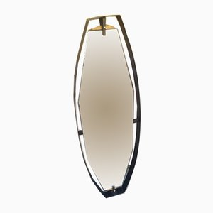 Mid-Century Suspended Mirror with Iron and Brass Frame, 1950s