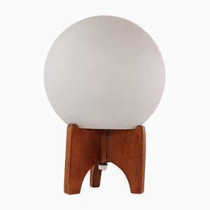 Mid-Century Opaline Glass and Wood Tripod Table Lamp, 1960s