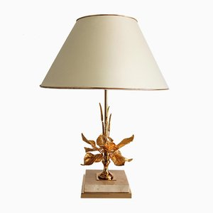 Modernist French Brass and Gold Plating Table Lamp from Maison Charles, 1970s