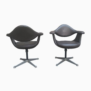 Leather Swivel Chairs by Charles & Ray Eames for Herman Miller, 1970s, Set of 2