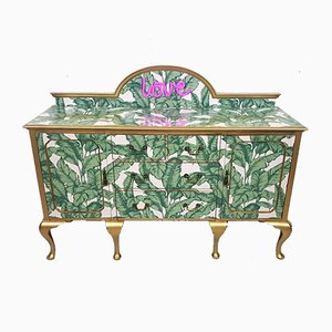 Mid-Century Wooden Sideboard with Tropical Banana Decoupage, 1940s