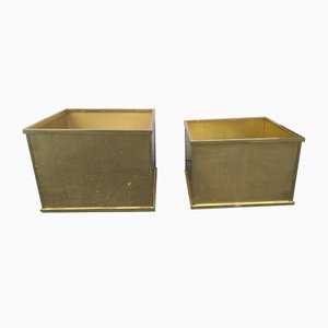Vintage Metal Garden Planters, 1970s, Set of 2