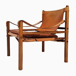 Leather and Rosewood Sirocco Armchair by Arne Norell for Arne Norell AB, 1960s