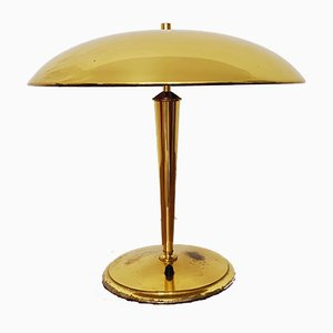 Lámpara de mesa Mid-Century grande de latón, años 50