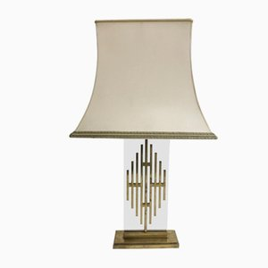 Mid-Century Bronze and Fabric Table Lamp, 1960s