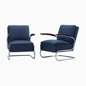 Tubular Steel FN24 Cantilever Armchairs from Mücke & Melder, 1930s, Set of 2