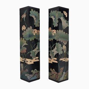 Columnas chinas vintage de madera tallada y lacada en negro, años 70. Juego de 2
