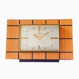 Reloj alemán de latón, vidrio y madera de Junghans, años 70